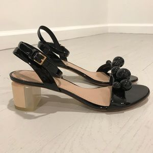 Tory Burch new low heel ball sandals black patent